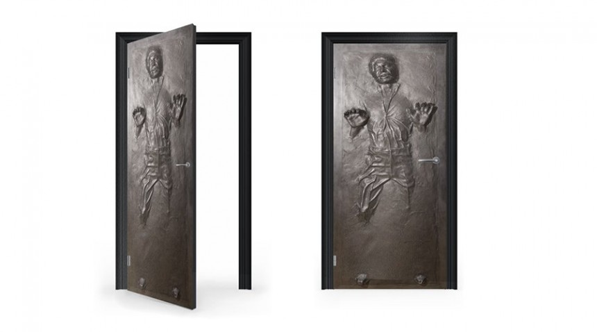 DoorWrap: Han Solo in Carbonite Vinyl Sticker for Door